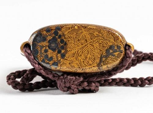 18th century - Inro à 4 cases en laque or et argent 18ème siècle