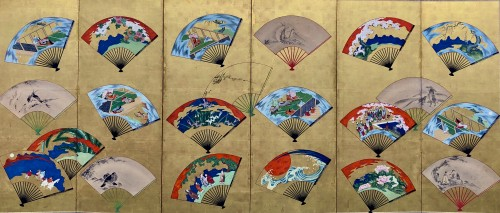 Japanese 6-Panel Screen of fans decoration