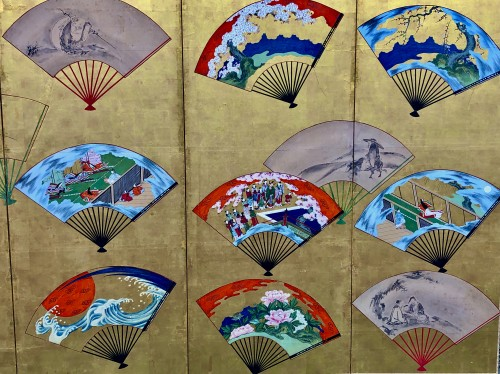 Japanese 6-Panel Screen of fans decoration - Asian Works of Art Style