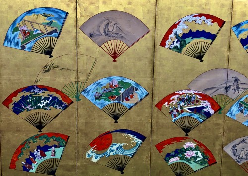 Asian Works of Art  - Japanese 6-Panel Screen of fans decoration