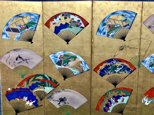 Japanese 6-Panel Screen of fans decoration -