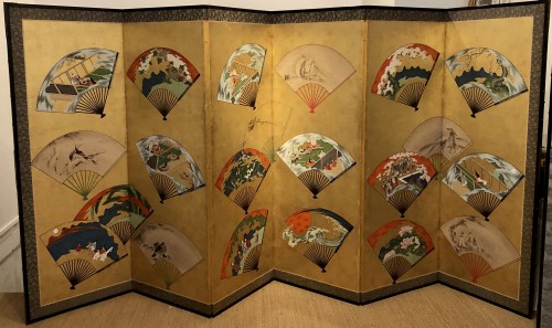18th century - Japanese 6-Panel Screen of fans decoration