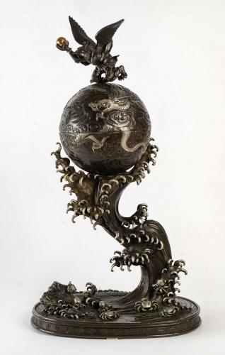 Rare bronze of a Tengu, a dragon and an impressive wave -