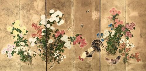 Japanese 6-Panel Screen Kano School