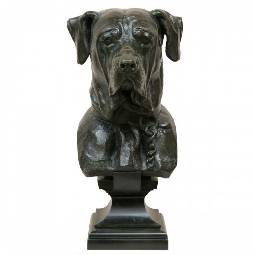 "Large bust ""Chien de garde"" - Dogue de Bordeaux by Jean-Barnabé Amy (1839-1907)"