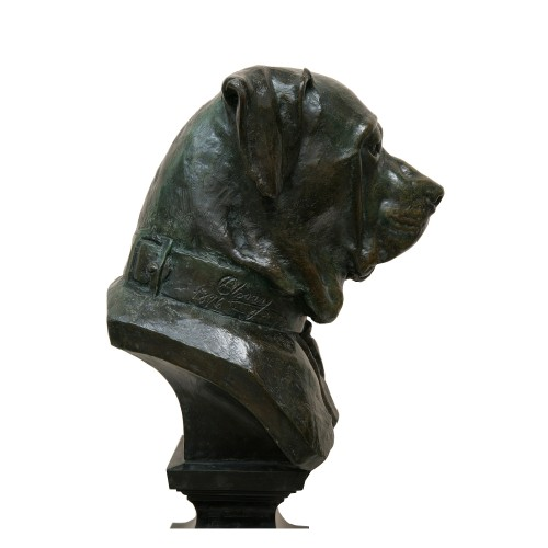 "Large bust ""Chien de garde"" - Dogue de Bordeaux by Jean-Barnabé Amy (1839-1907) - Sculpture Style Napoléon III"