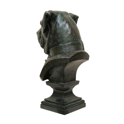 "Sculpture  - Large bust ""Chien de garde"" - Dogue de Bordeaux by Jean-Barnabé Amy (1839-1907)"