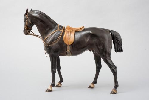 Black stallion Vienna bronze by Franz Bergman - Sculpture Style Napoléon III