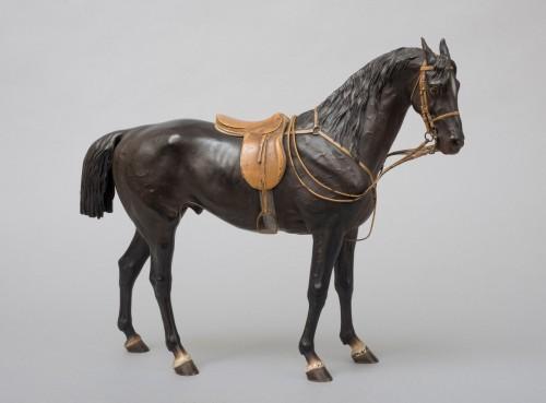19th century - Black stallion Vienna bronze by Franz Bergman