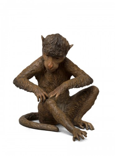 Large Cold Painted Vienna Bronze Monkey