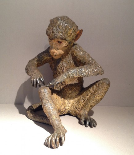 Large Cold Painted Vienna Bronze Monkey - Sculpture Style Napoléon III