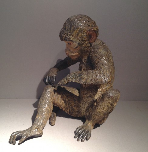 Sculpture  - Large Cold Painted Vienna Bronze Monkey