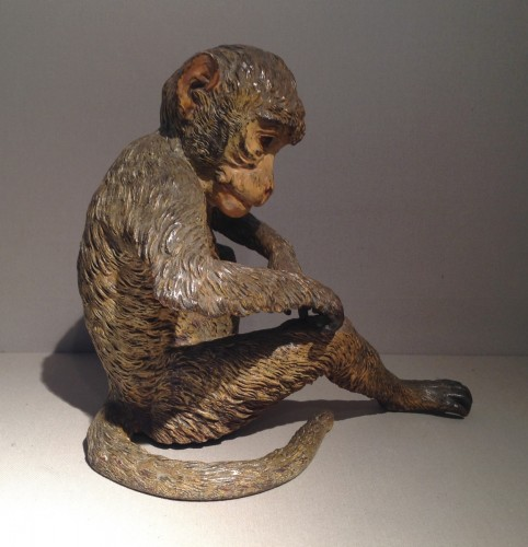 Large Cold Painted Vienna Bronze Monkey -