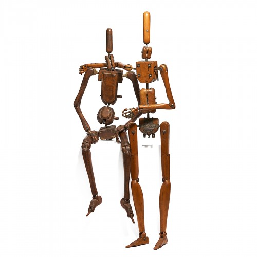 TWO FRENCH LIFE-SIZE ARTICULATED WOODEN AND IRON MANNEQUINS