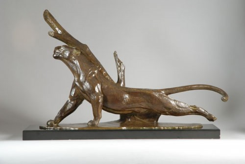 André-Vincent BECQUEREL (1893-1981) - Panthère - Sculpture Style