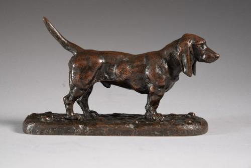 English basset hound n°2 - Antoine-Louis BARYE (1795-1875) - Sculpture Style