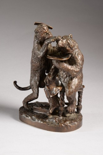 Bear and monkey barber (before 1850) - Christophe FRATIN (1801-1864) - Sculpture Style