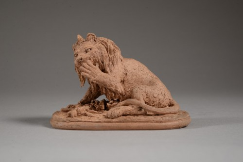 Lion licking its paw - Christophe FRATIN (1801-1864) - Sculpture Style