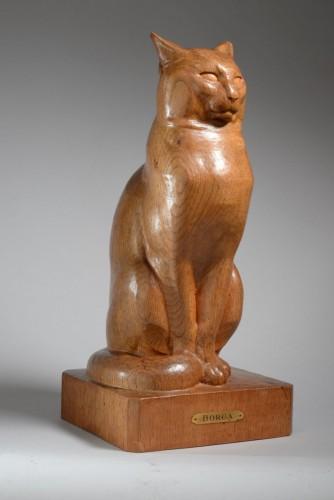 Sitting cat - Eugène Antoine BORGA (1885-1964) - Sculpture Style