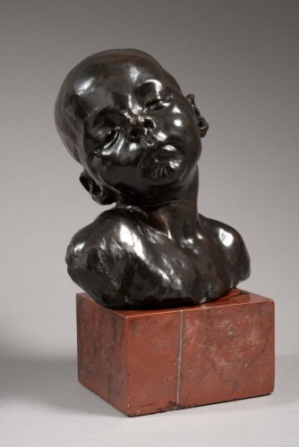 Bust of a sleeping baby - Aimé-Jules DALOU (1838-1902) - Sculpture Style