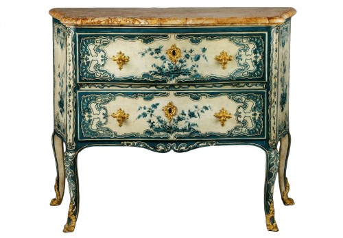 A blue and white painted piedmontese commode, Piedmont ca. 1750