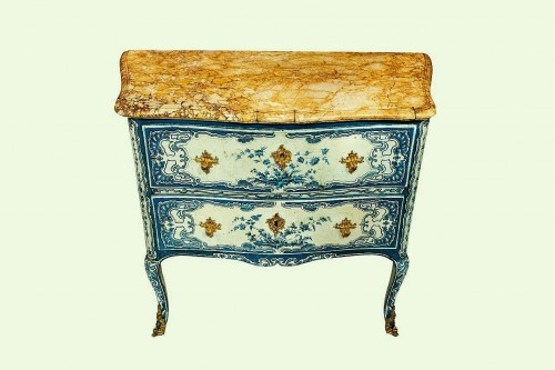 Furniture  - A blue and white painted piedmontese commode, Piedmont ca. 1750