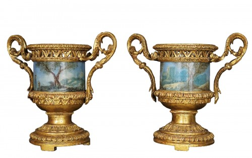 Pair of Carved And Wood Gilded  Vases With Painted Sheet Metal, Rome 178