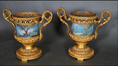 Pair of Carved And Wood Gilded  Vases With Painted Sheet Metal, Rome 178 - Decorative Objects Style Louis XVI