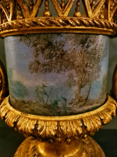 18th century - Pair of Carved And Wood Gilded  Vases With Painted Sheet Metal, Rome 178