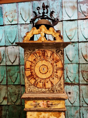 Horology  - Large 17th Century Painted Parquet Horologe, Italy / Marche