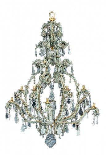 North Italian Gilt-iron Moulded And Cut-glass Twelve-light Chandelier,Turin