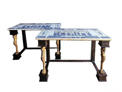 Pair Of Neoclassic Consoles Tables With Scagiole Top, Italy, 19 / 20th Cent