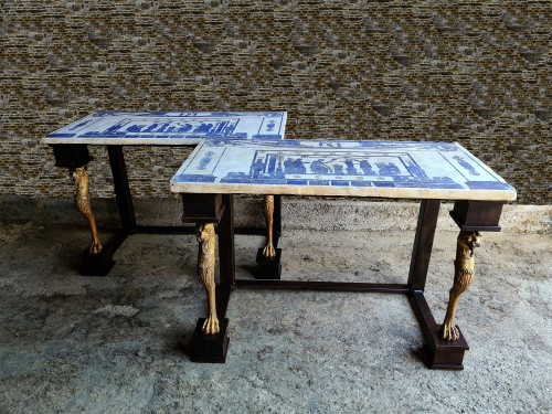 Furniture  - Pair Of Neoclassic Consoles Tables With Scagiole Top, Italy, 19 / 20th Cent