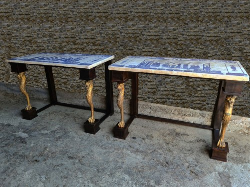Antiquités - Pair Of Neoclassic Consoles Tables With Scagiole Top, Italy, 19 / 20th Cent