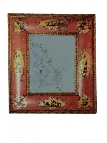 Extraordinary Venetian Mirror In Rosé Lacquer, 1st Half 18th
