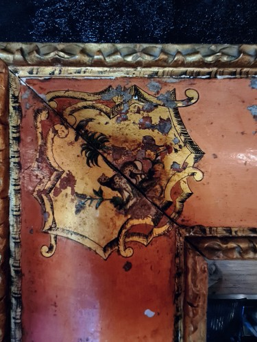 Extraordinary Venetian Mirror In Rosé Lacquer, 1st Half 18th -