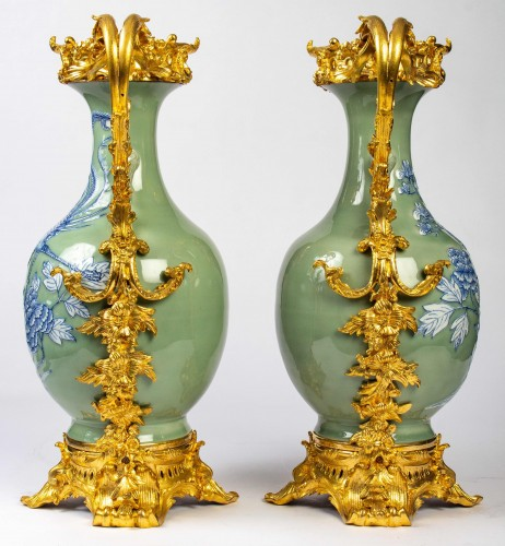 Pair of Chinese porcelain vases - Decorative Objects Style Napoléon III