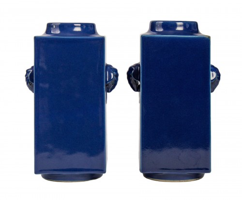 A pair of Imperial blue glazed Cong vases, mark and period of Guangxu