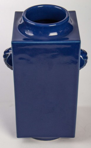 A pair of Imperial blue glazed Cong vases, mark and period of Guangxu -