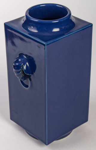 - A pair of Imperial blue glazed Cong vases, mark and period of Guangxu