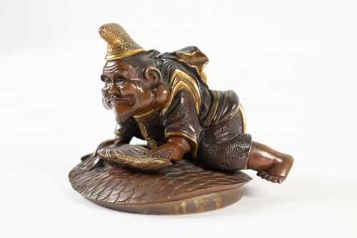 19th century - Lacquered bronze & cover with Ebisu on a giant carp, Japan, 19th C.