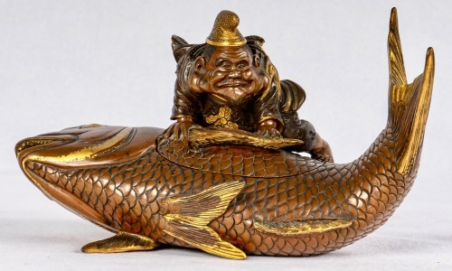 - Lacquered bronze & cover with Ebisu on a giant carp, Japan, 19th C.