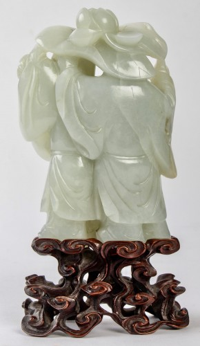 An outstanding pale celadon nephrite jade group of theHe He twins, 19th C. - Asian Works of Art Style