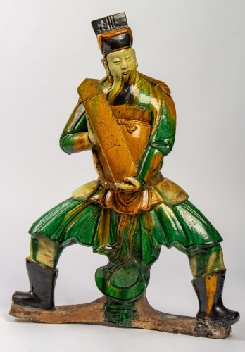 A large standing earthenware figure of a Taoïst Judge, Ming Dynasty -