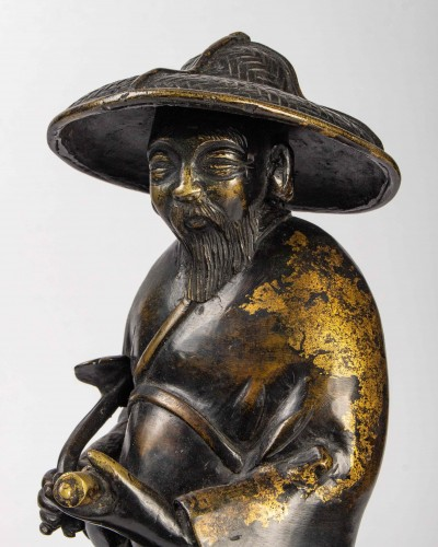 A parcel gilt bronze incense burner cast as Toba on his mule, 19th century - Asian Works of Art Style