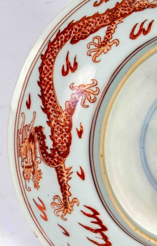 18th century - A very rare imperial iron red dragon dish , Kangxi mark and of the period