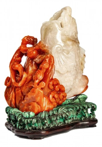 Red and white carnelian agate group of a carp and a dragon