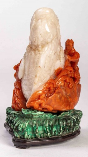 Asian Works of Art  - Red and white carnelian agate group of a carp and a dragon
