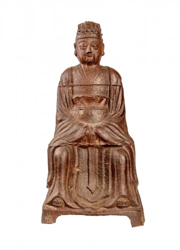 A large figure of the Jade Emperor in Cast Iron, Kangxi mark and period