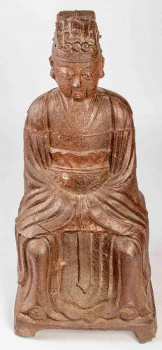 A large figure of the Jade Emperor in Cast Iron, Kangxi mark and period - Asian Works of Art Style